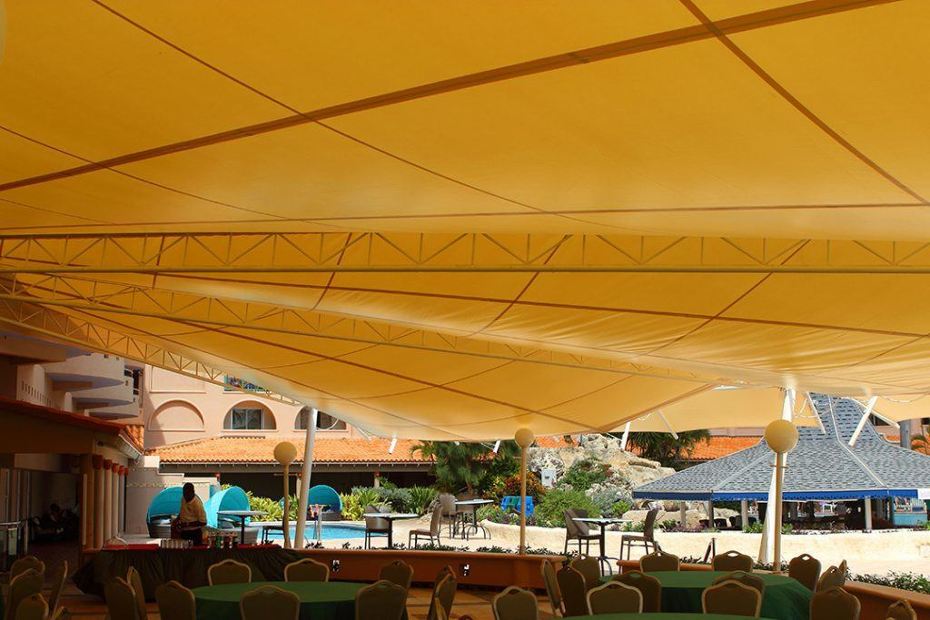 Underside of canvas canopy for resturant showing the supporting custom built metal frame