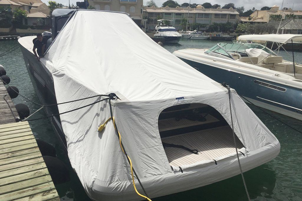 custom built canvas boat cover for luxury yacht