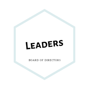 A teal hexagon which reads Leaders, board of directors. Click here for more information.