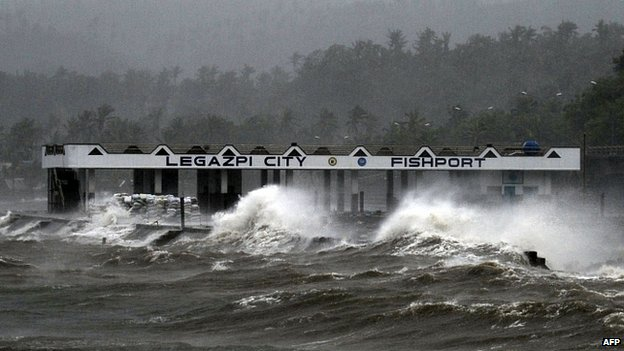 High winds sent waves crashing into the coast at Legazpi