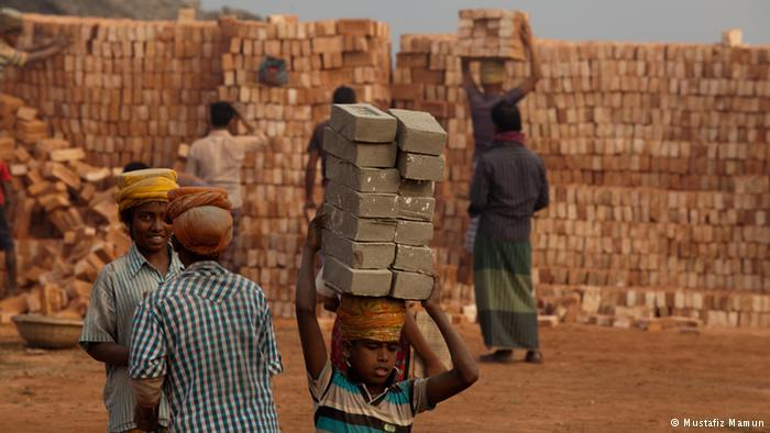 Children from the brick field Brick-chipping is common in Bangladesh. Many children work as chippers in these brick fields in Amin Bazar in Dhaka. They are paid 100-120 taka for carrying a thousand bricks. These bricks are very heavy, around three kilograms. But each child has to carry six to 16 bricks at a time and take them to the brick depot.