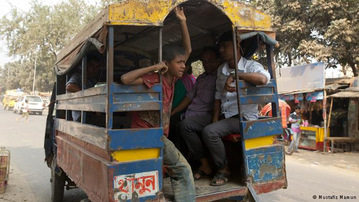 Child helpers in 'human hauler' Some 93 percent of child laborers work in the informal sector – in small factories, in home-based businesses and domestic employment and on the streets, like these human haulers on the streets of Dhaka. The kids help passengers onto vans and buses used for public transportation. And not surprisingly are often the victims of accidents.