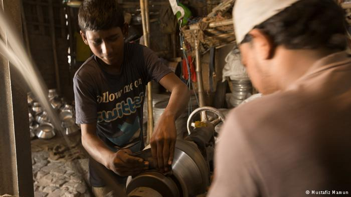 Hazardous working environment This is Ali Hossain, a child laborer. He works in a silver factory in Keraniganj in Dhaka, almost day and night. The long hours and deafening noise are ruining his health and thus his future. Needless to say, full-time work also contributes to high school drop-out rates.