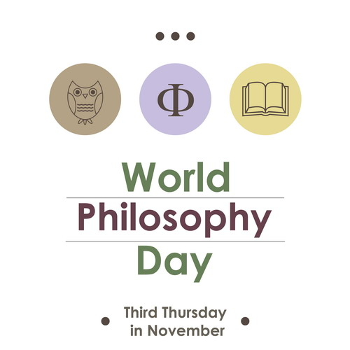 Thin line flat design of World Philosophy Day banner poster or card. Vector icons collection illustration of the worldwide celebrated united nations day isolated on white background. Modern dots concept with owl book philosophers symbol