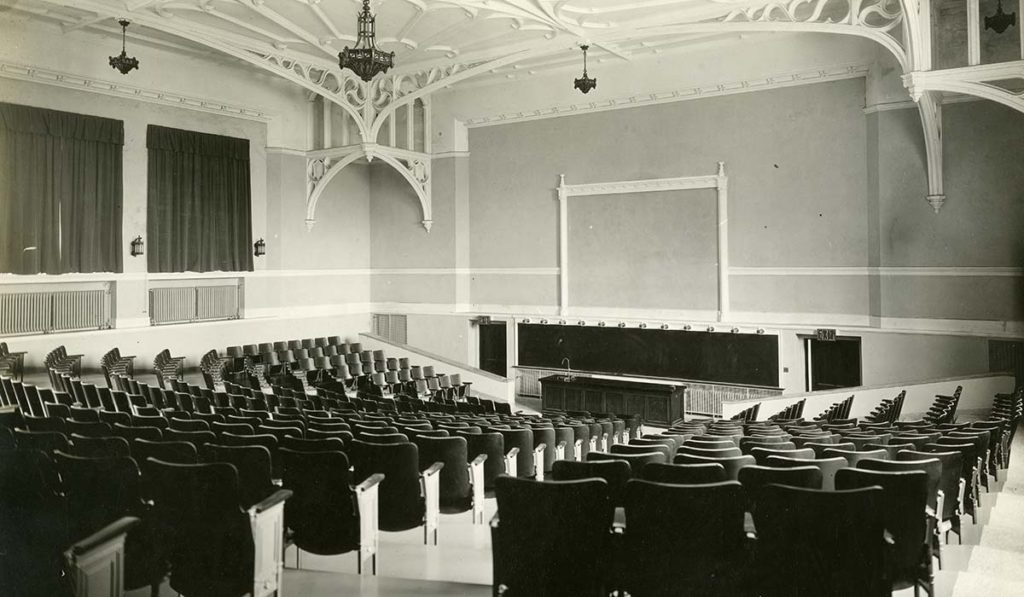 Maloney Hall auditorium in its early years of operation. It is now being prepared for renovations.