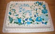 It has become one of my trademarks that I bring cake for people to enjoy while visiting with me at signings and other events.  This cake was for a recent St. Louis event.  The icing was great!