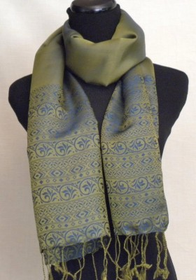 Silk Satin Scarf in Copper Green and Blue