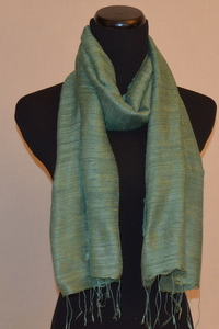 Jade Green Raw Silk Scarf