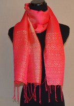 Bright Pink Satin Silk Scarf with Gold Design