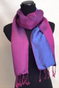Satin Silk Scarf Two Tone Violet Blue