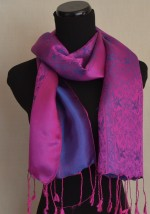 Blue Violet Silk Satin Scarf
