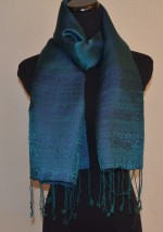 Silk Satin Scarf in Copenhagen Blue and Green Traditional Design