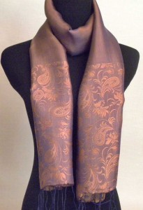 Blue and Gold Silk Scarf with Paisley Pattern
