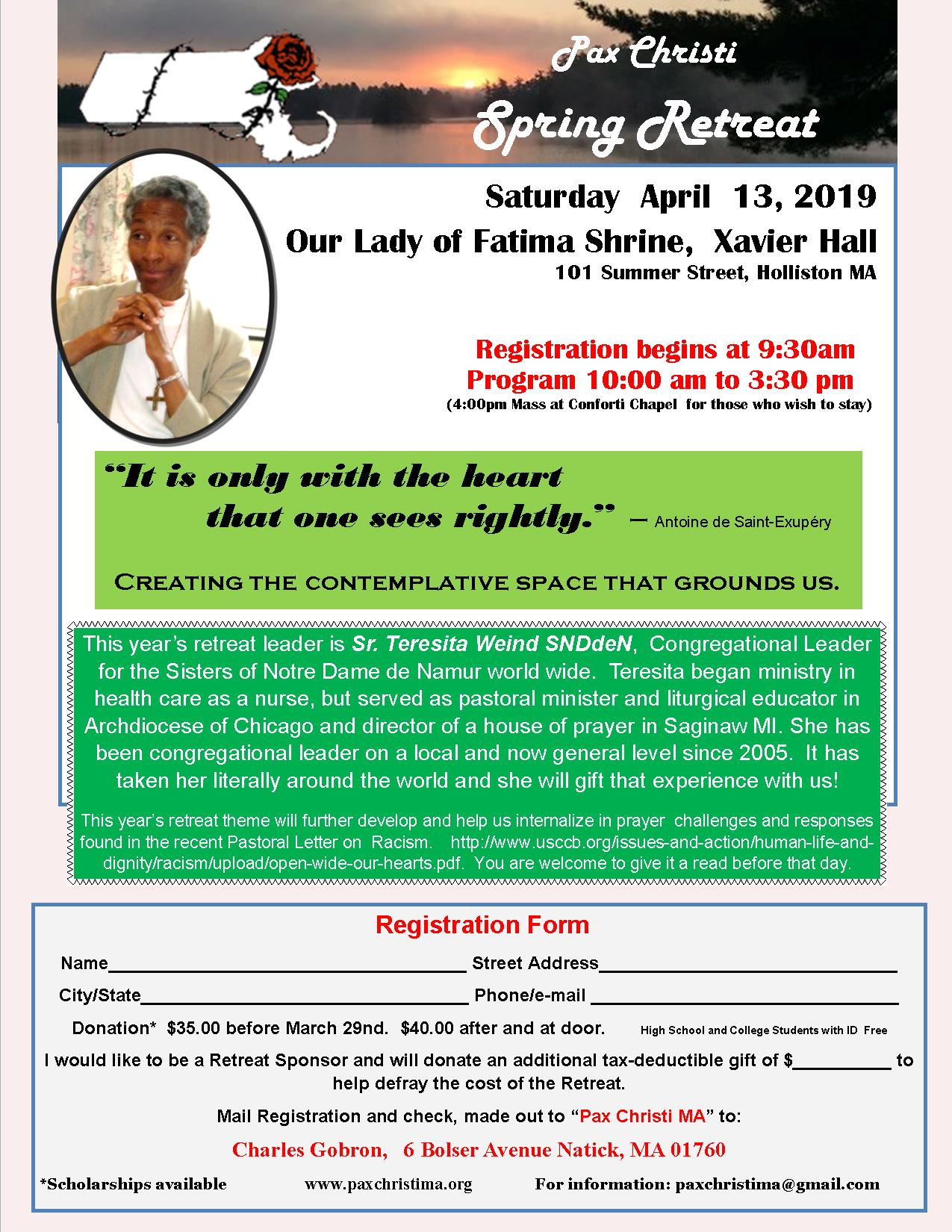 Spring Retreat on Creating the Contemplative Space that Grounds Us