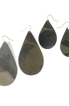 Leather Camo Earrings