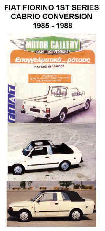 1985 FIAT FIORINO KERABOS CONVERTIBLE MODIFICATION. 1ST SERIES