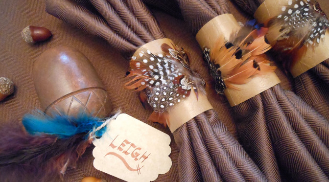 Feather & Vegan Leather Napkin Ring Craft Tutorial + Easy DIY Centerpiece & Fall Place-card Holders for Oktoberfest
