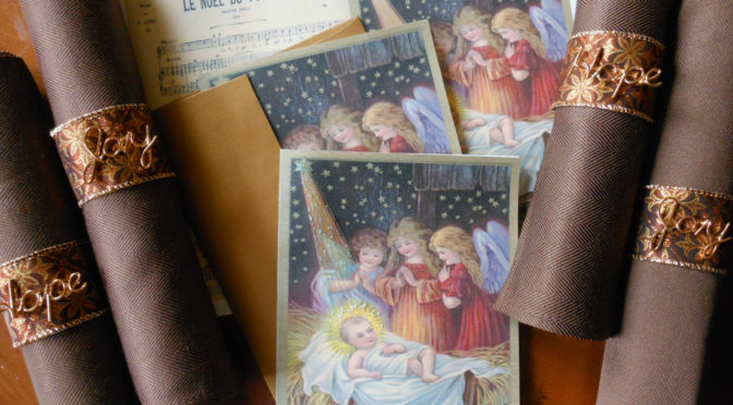 Celebrate the True Meaning of Christmas with Free Printable Nativity Cards & Easy Craft Tutorial for Hope & Joy Napkin Rings for Christmas Dinner