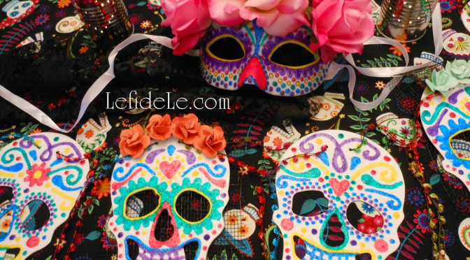 DIY La Calavera Catrina Costume Mask & Calaveras de Azucar (Sugar Skulls) Banner for a Dia de los Muertos (Day of the Dead) Themed Halloween