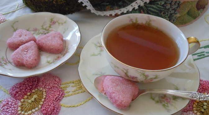 Easy to Mold Naturally Colored Pink Sugar Shapes Sweethearts Recipe = a Spoonful of Sugar for Your Mother's Day Tea