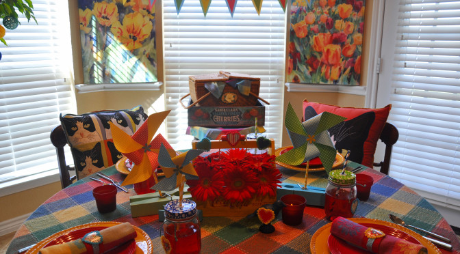 Colorful Indoor Picnic Party Tablescape Perfect for Rainy Days or Texas Temps!