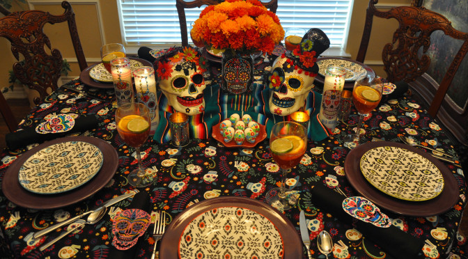 Dia de los Muertos (Day of the Dead) Themed Halloween Dinner Party Décor + DIY Décor & Recipe Links