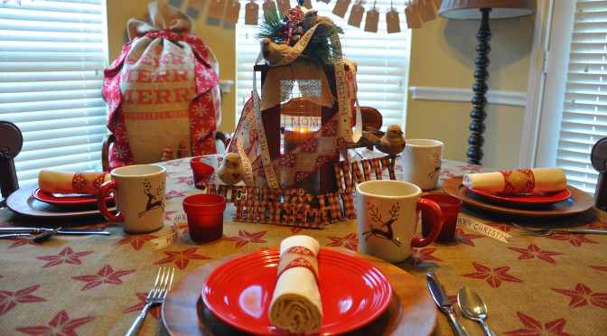 Create a Homespun Holiday of Barn Red & Burlap with Christmas Tablescape & Mantle Décor Ideas