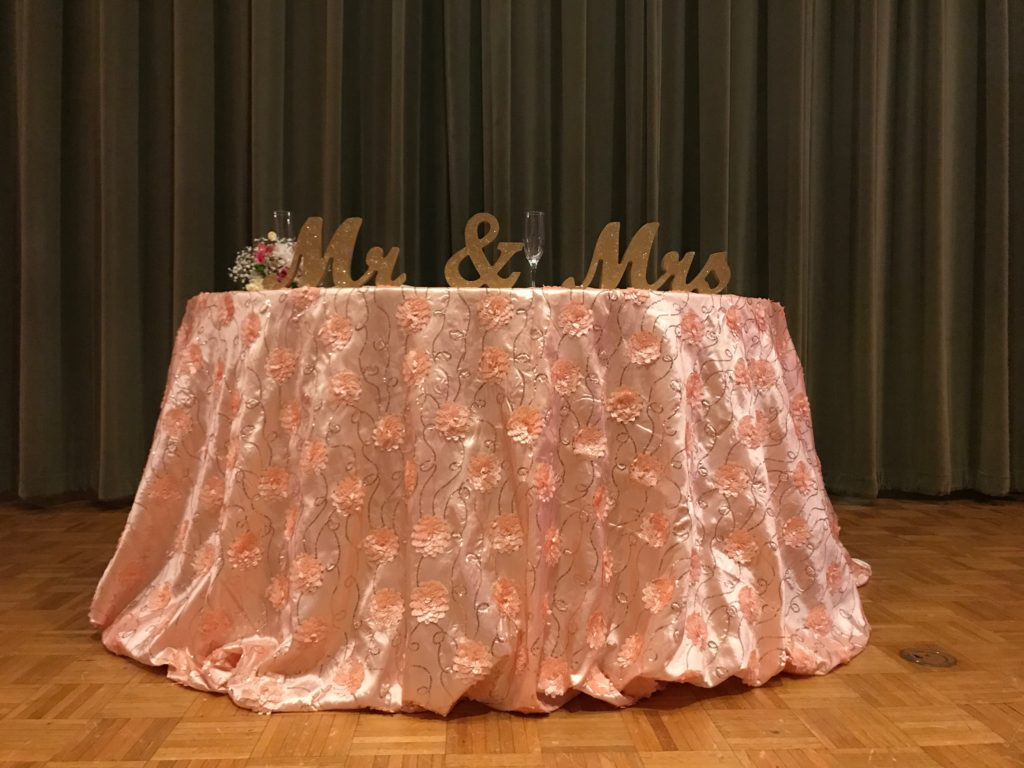 Blush Flower Sequin Sweetheart Tablecloth