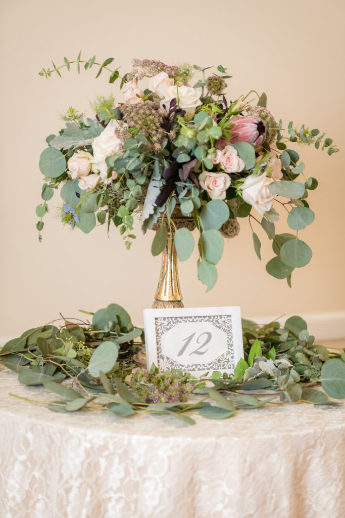 White Frame w/ Silver Table Numbers