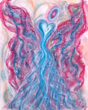 childhood protection angel art pastel painting