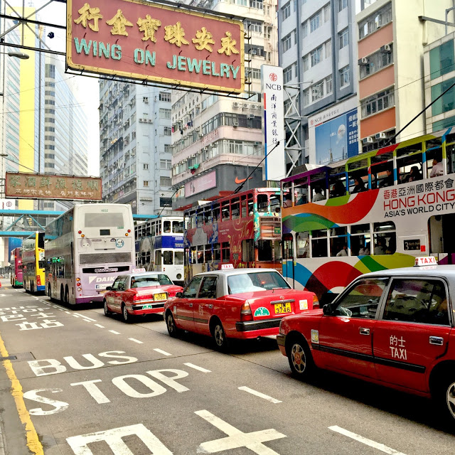 colorful street of hong kong