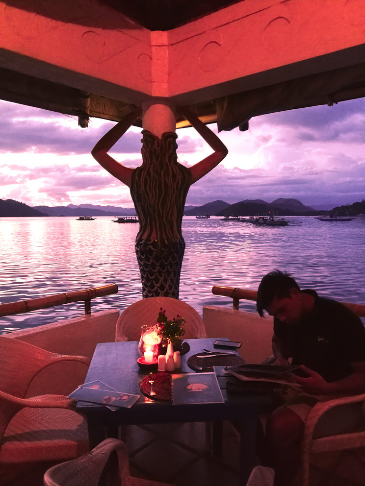 Romantic dinner sunset at La Sirenetta mermaid Coron Palawan