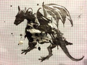 Dragon on Checked Paper