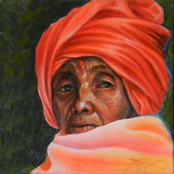 woman with orange scarf, Nepal