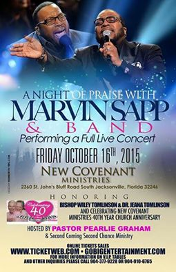 Bishop praying for Marvin Sapp – NCM 40 year anniversary.