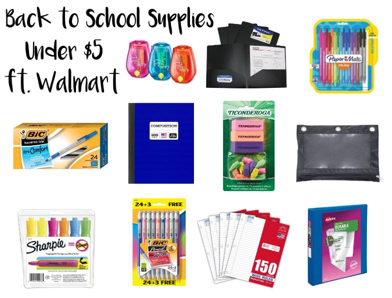 School Supplies Under $5 ft. Walmart