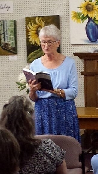 Patricia at a public reading.