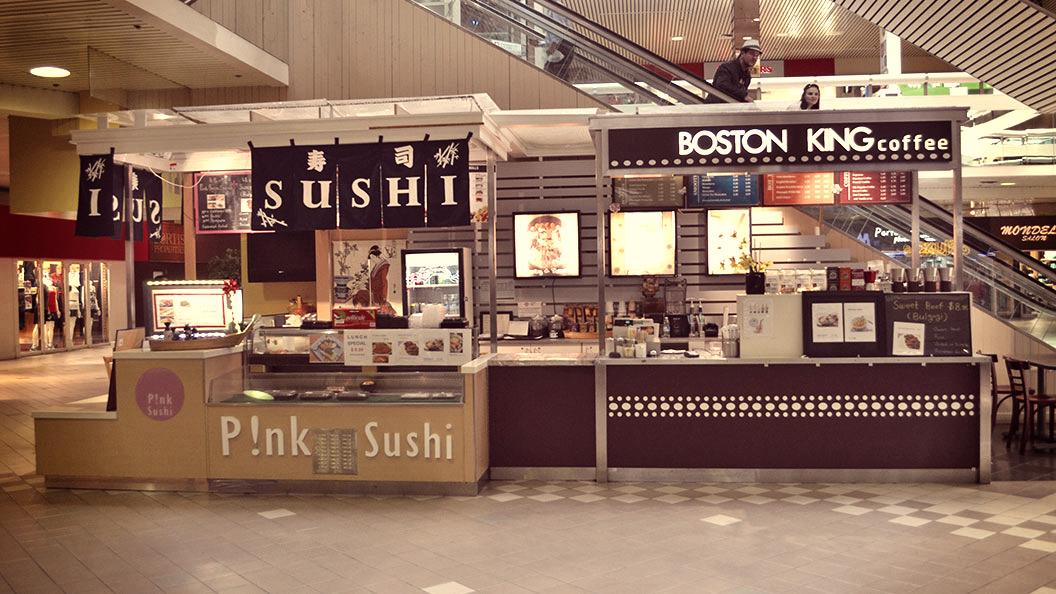 Pink Sushi & Boston King Coffee Storefront