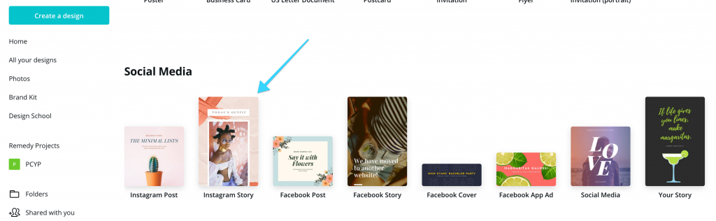 Canva template for Instagram Story