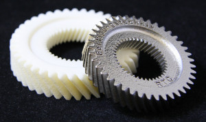 This prototype of a gear can be tested to see if it meshes with other gears.