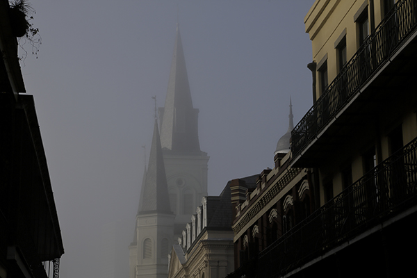 Saint Louis Cathedral on foggy day