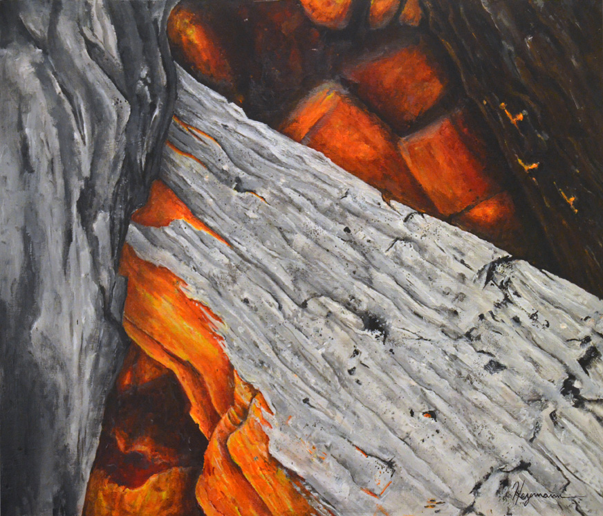 """Into the Fire / 28""""x24"""" / Acrylic on Wood"""
