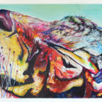 stephen heymann tiger abstract painting colorful basking sleeping cat wiskers