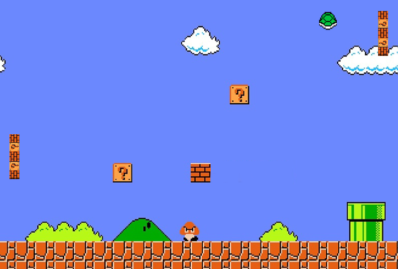 Preview of Mario Pong, built in p5.js