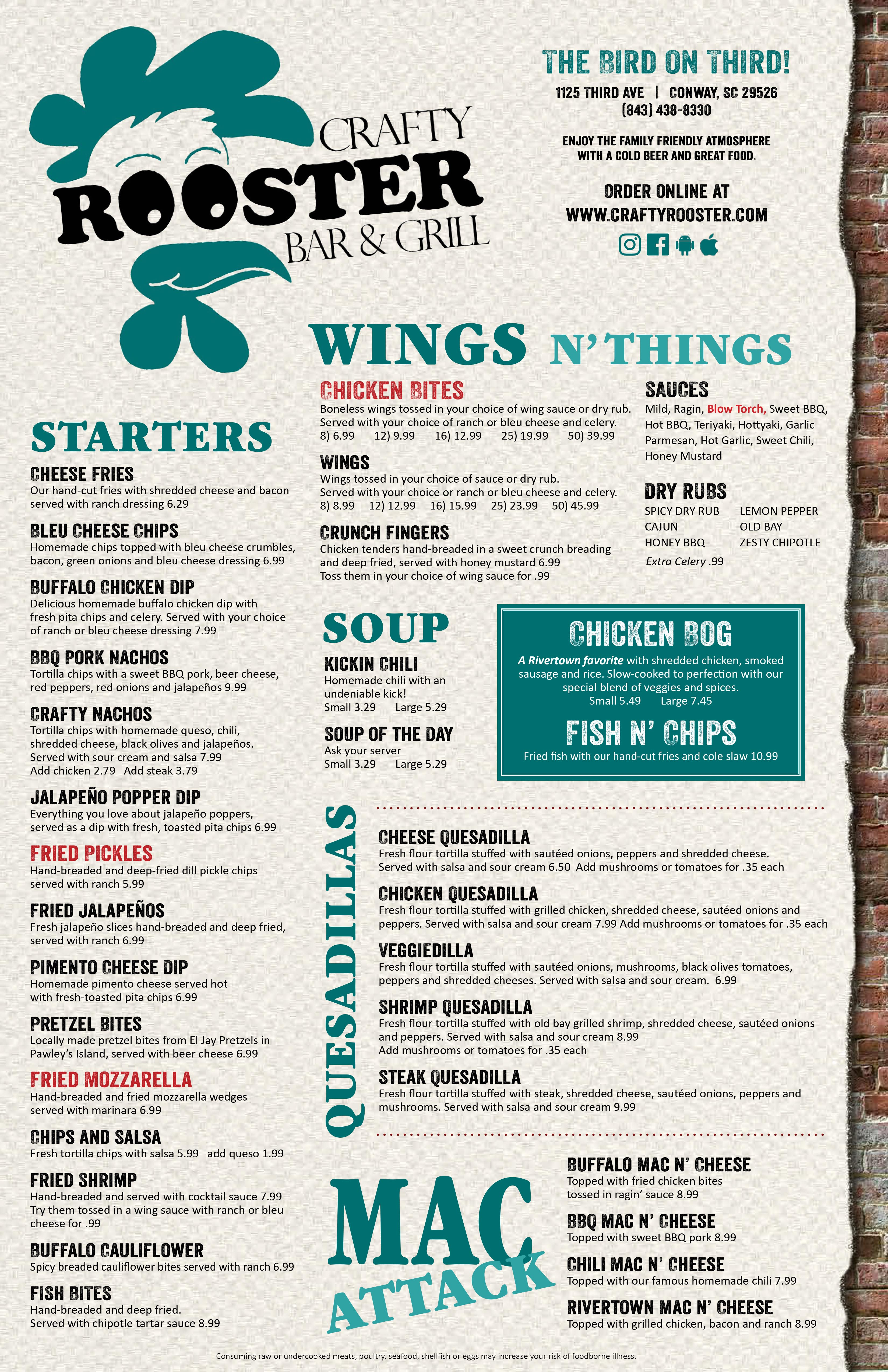 new crafty rooster in house menu-1