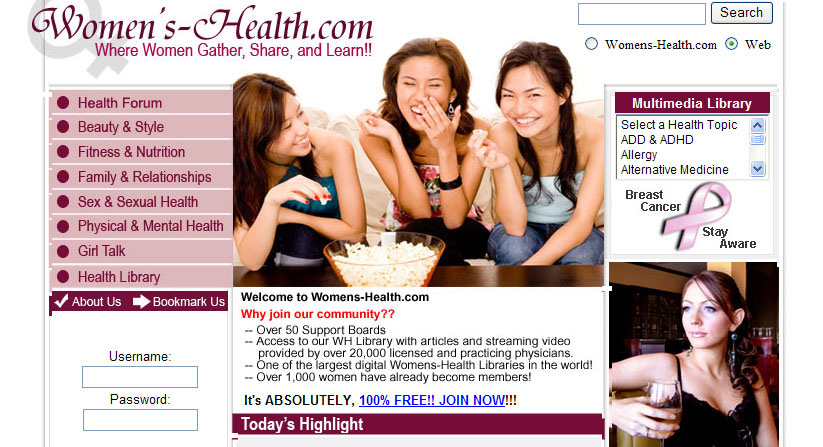 Womens-Health.com (forum) Website Design