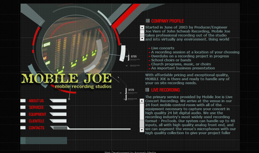 Mobile Joe (recording studio) Website Design