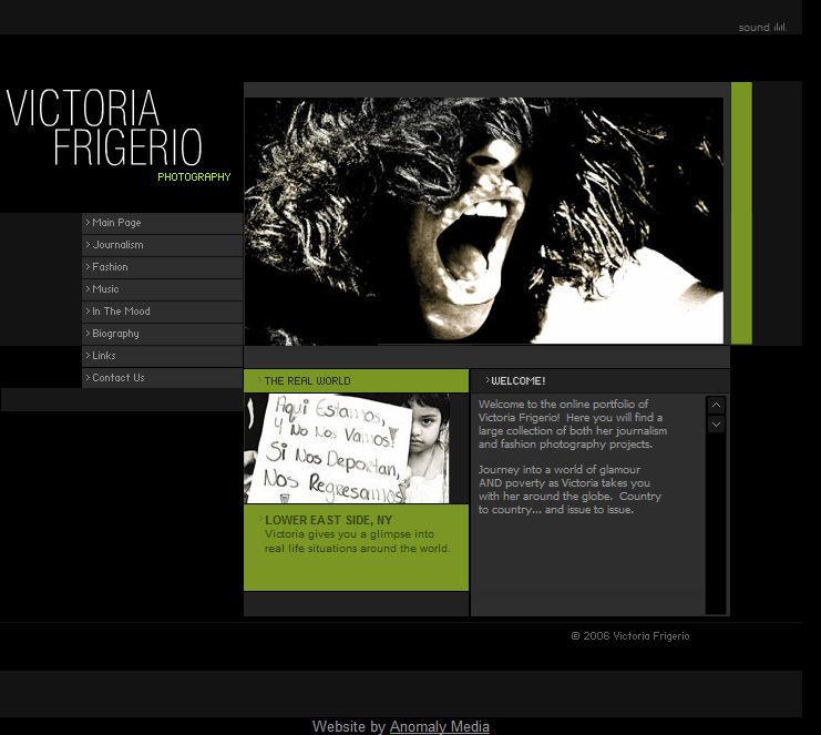 Victoria Frigerio (photo journalist) Website Design