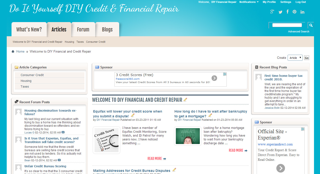 DIY Financial Repair vBulletin Website Design