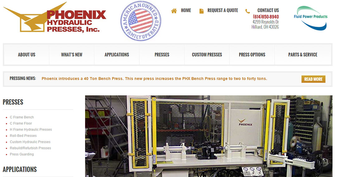 Website Design for Press Manufacturer